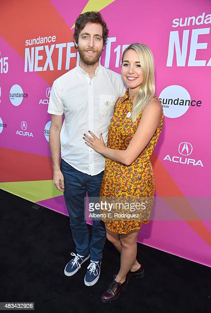 Moderator Thomas Middleditch and Mollie Gates attend the Finders Keepers Los Angeles premiere during the Sundance NEXT FEST at The Theatre at Ace...