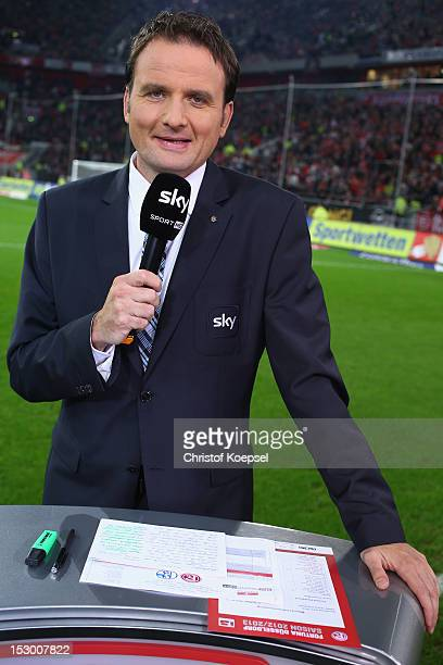 Moderator Thomas Wagner of sky television channel poses prior to the Bundesliga match between Fortuna Duesseldorf and FC Schalke 04 at EspritArena on...