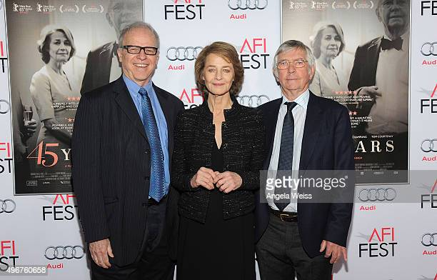 Moderator Tim Gray, actress Charlotte Rampling and actor Tom Courtenay arrive at the AFI FEST 2015 Presented by Audi Tribute to Charlotte Rampling...