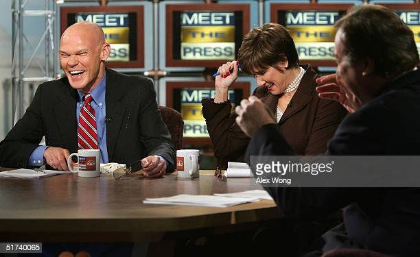 Moderator Tim Russert and Republican strategist Mary Matalin react after Matalin's husband Democratic strategist James Carville cracked an egg on his...
