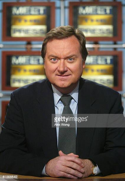 Moderator Tim Russert poses for a portrait at the set of Meet the Press January 26 2003 at the NBC studios in Washington DC Russert died June 13 2008...