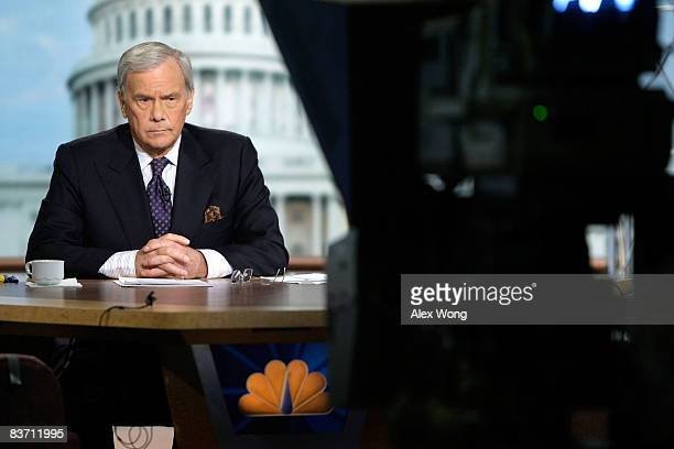 Moderator Tom Brokaw listens during a taping of 'Meet The Press' at the NBC studios November 16 2008 in Washington DC The topics of the week included...