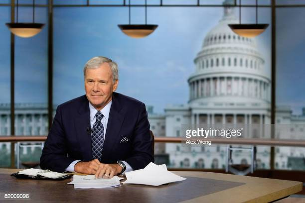 Moderator Tom Brokaw pauses during a taping of 'Meet the Press' at the NBC studio July 20 2008 in Washington DC Brokaw discussed with guests on...