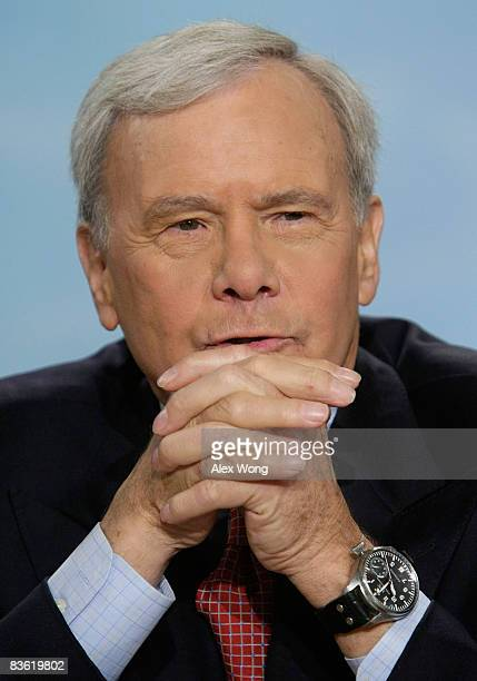 Moderator Tom Brokaw speaks during a taping of 'Meet the Press' at the NBC studios November 9 2008 in Washington DC The guests of the week discussed...