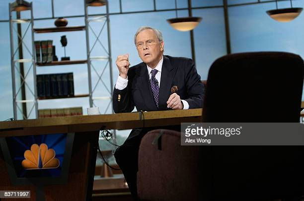 Moderator Tom Brokaw speaks during a taping of 'Meet The Press' at the NBC studios November 16 2008 in Washington DC The topics of the week included...