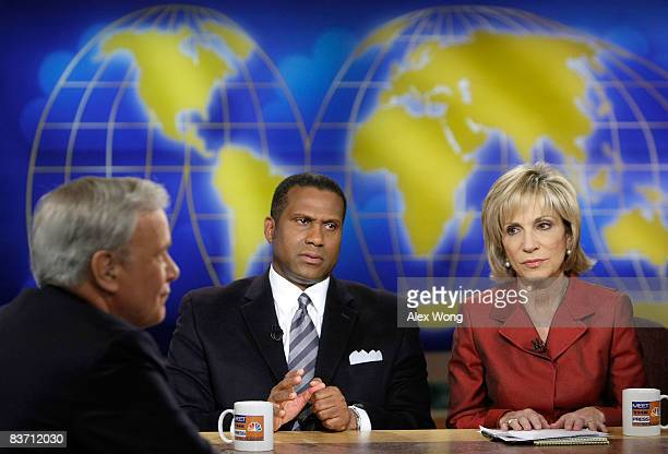 Moderator Tom Brokaw The Tavis Smiley Show host Tavis Smiley and NBC News Chief Foreign Affairs Correspondent Andrea Mitchell discuss during a taping...