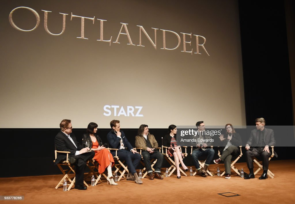 Moderator Tom O'Neil, actors Caitriona Balfe and Sam Heughan, executive producers Ronald D. Moore, Maril Davis, Matthew B. Roberts and Toni Graphia and production designer Jon Gary Steele attend Starz's 'Outlander' FYC Special Screening and Panel at the Linwood Dunn Theater at the Pickford Center for Motion Study on March 18, 2018 in Hollywood, California.