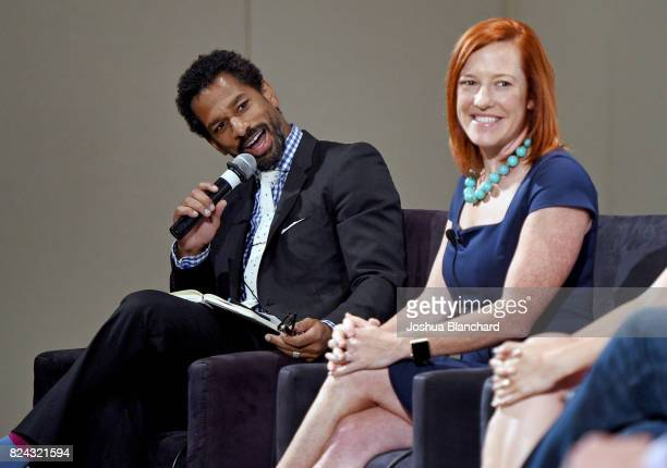 Moderator Toure and Jen Psaki at 'The Obama Legacy' panel during Politicon at Pasadena Convention Center on July 29, 2017 in Pasadena, California.