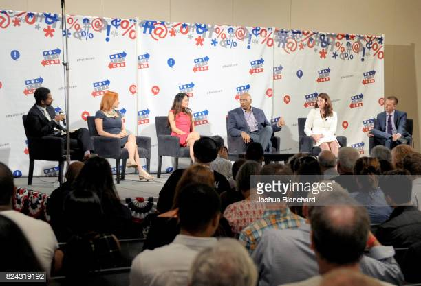 Moderator Toure, Jen Psaki, Alejandra Campoverdi, Michael Steele, Alison Lundergan Grimes and John Phillips at 'The Obama Legacy' panel during...