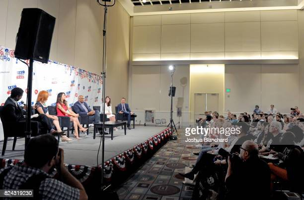 Moderator Toure Jen Psaki Alejandra Campoverdi Michael Steele Alison Lundergan Grimes and John Phillips at 'The Obama Legacy' panel during Politicon...