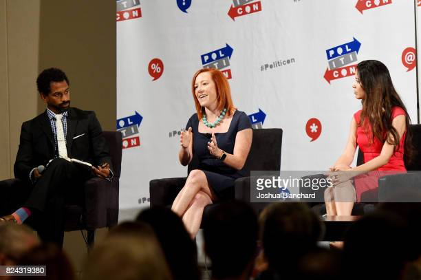 Moderator Toure, Jen Psaki and Alejandra Campoverdi at 'The Obama Legacy' panel during Politicon at Pasadena Convention Center on July 29, 2017 in...