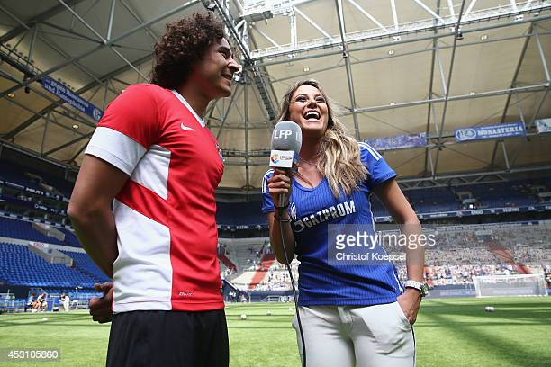 Moderator Vanessa Huppenkothen interviews Guillermo Ochoa of Malaga prior to the match between FC Malaga and West Ham United as part of the Schalke...
