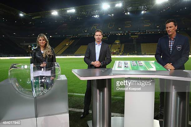 Moderator Vanessa Huppenkothen Marcus Sorg national coach of the german U19 and ASebastian hellmann fiel reporter of sky television draw the second...