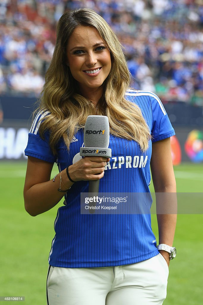 Moderator Vanessa Huppenkothen of Sport 1 television channel is seen prior to the match between FC Malaga and West Ham United as part of the Schalke 04 Cup Day at Veltins-Arena on August 3, 2014 in Gelsenkirchen, Germany.