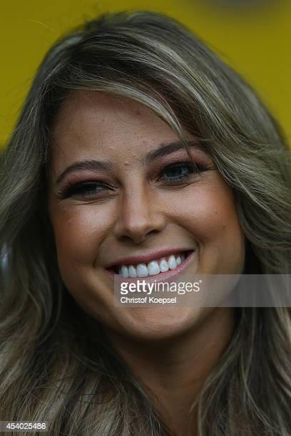 Moderator Vanessa Huppenkothen of Sport 1 television channel is seen prior to during the Bundesliga match between Borussia Dortmund and Bayer 04...