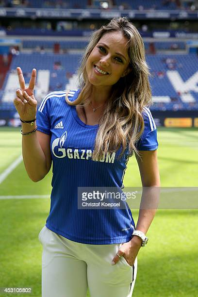 Moderator Vanessa Huppenkothen poses prior to the match between FC Malaga and West Ham United as part of the Schalke 04 Cup Day at VeltinsArena on...