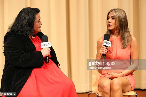Moderator Variety Associate Features Editor Jenelle Riley and actress Jennifer Aniston speak onstage during a QA following the screening of 'Cake'...