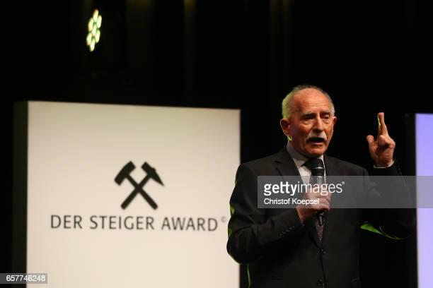 Moderator Werner Hanach speaks during the Steiger Award at Coal Mine Hansemann 'Alte Kaue' on March 25 2017 in Dortmund Germany