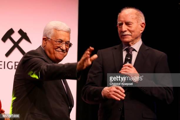 Moderator Werner Hansch speaks to ope of peace award winner Mahmoud Abbas president of Palestina during the Steiger Award on at Coal Mine Hansemann...