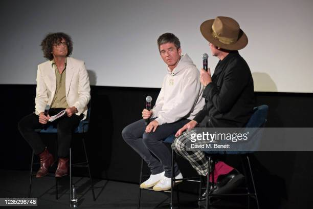 """Moderator Will Hodgkinson, Noel Gallagher and Director Jake Scott attend the World Premiere of """"Oasis Knebworth 1996"""" at the Picturehouse Central on..."""