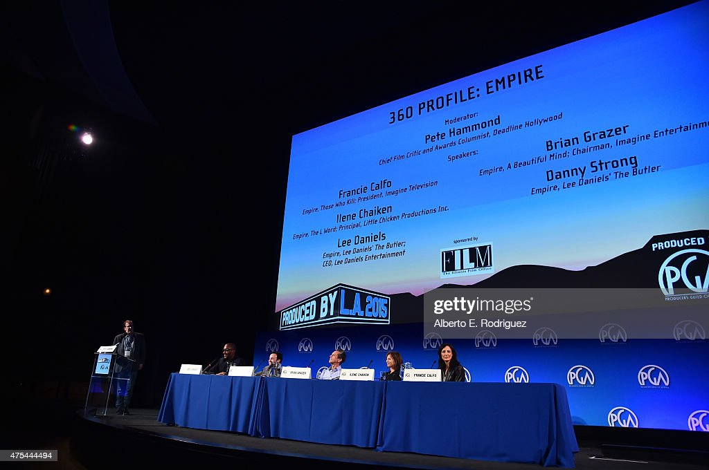 Moderator/Chief Film Critic and Awards Columnist, Deadline Hollywood Pete Hammond, CEO, Lee Daniels, Actor Danny Strong, Chairman, Imagine Entertainment Brian Grazer, Principal, Little Chicken Productions Inc. Ilene Chaiken, and President, Imagine Television Francie Calfo speak at the 7th Annual Produced By Conference at Paramount Studios on May 31, 2015 in Hollywood, California.
