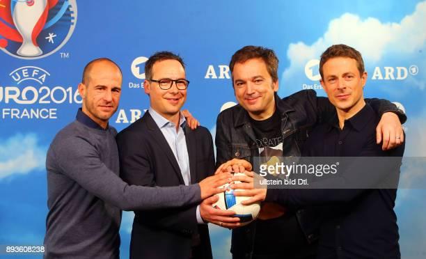 ARD Moderatoren Mehmet Scholl Matthias Opdenhoevel und Alexander Bommes Arnd Zeigler bei der PK von ARD und ZDF zur UEFA EURO 2016 im Radialsystem in...