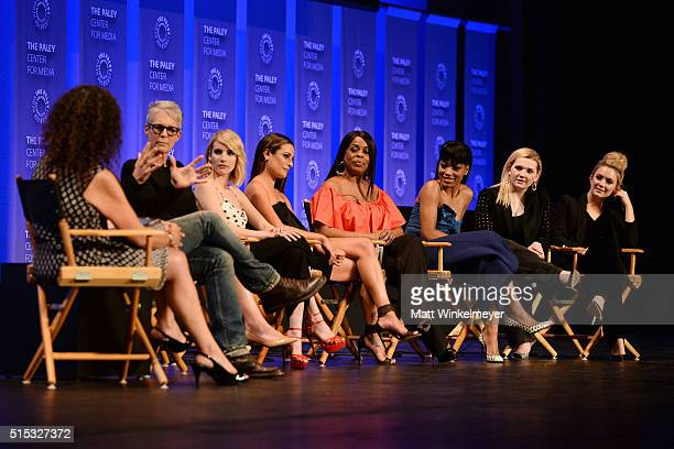 Moderator/Executive Editor at Variety Debra Birnbaum writer/Executive Producer Brad Falchuk and actors Jamie Lee Curtis Emma Roberts Lea Michele...