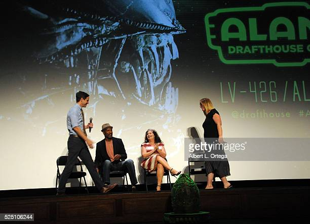 Moderator/podcaster Matt Gourley actor Ricco Ross actress Jenette Goldstein and actress Carrie Henn onstage during a Q A at the Alamo Drafthouse...