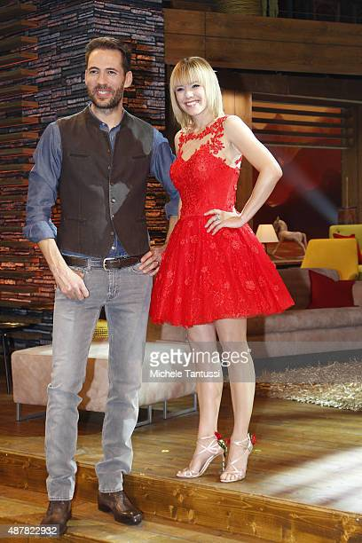 Moderators Alexander Mazza and Francine Jordi during the dress rehearsal of the TV music show Stadlshow on September 11 2015 in Offenburg Germany