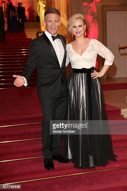 Moderators Andi Knoll and Katharina Strasser during the 27th ROMY Award 2015 at Hofburg Vienna on April 16, 2016 in Vienna, Austria.