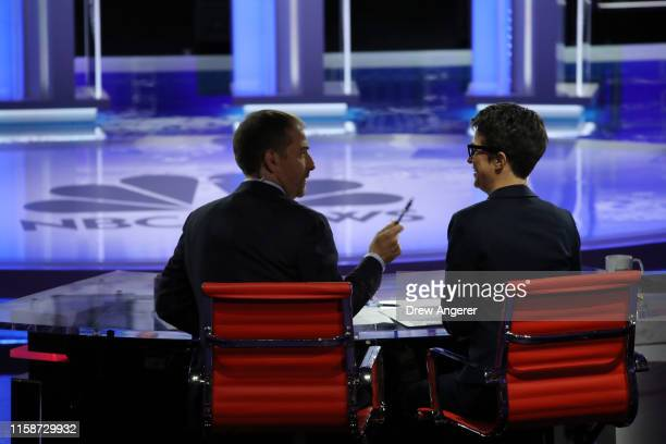 Moderators Chuck Todd of NBC News and Rachel Maddow of MSNBC talk during the second night of the first Democratic presidential debate on June 27 2019...