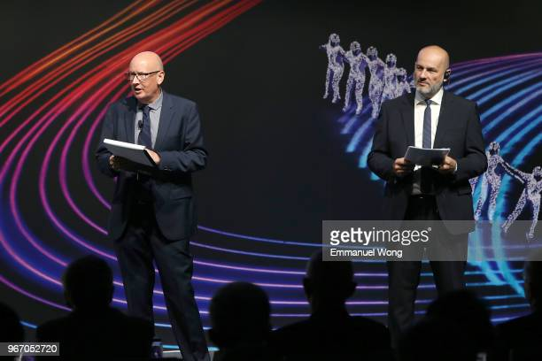 Moderators Thierry Borra and Bill Morris speak during the PyeongChang 2018 Debrief on June 4 2018 in Beijing China