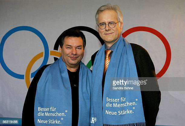 ARD moderators Waldemar Hartmann and Harald Schmidt pose during the photocall of German TV channels ARD and ZDF at the MOC event centre on December 2...