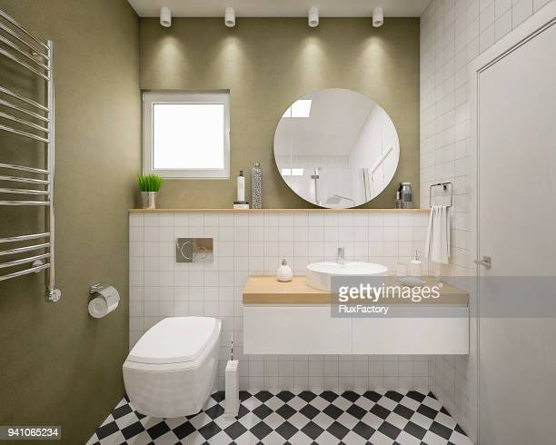 modern 3d bathroom render - domestic bathroom stock pictures, royalty-free photos & images