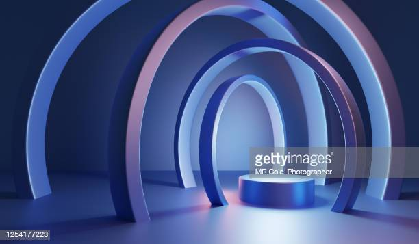 modern 3d futuristic design of abstract background platform for product presentation, mock up background - niveau d'épreuve sportive photos et images de collection