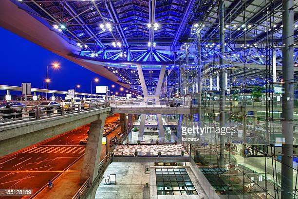 Modern airport at night, Bangkok, Thailand