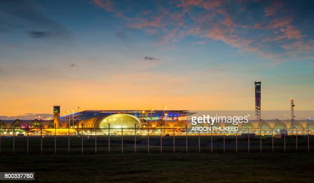 Modern airport at sunset, Bangkok, Thailand
