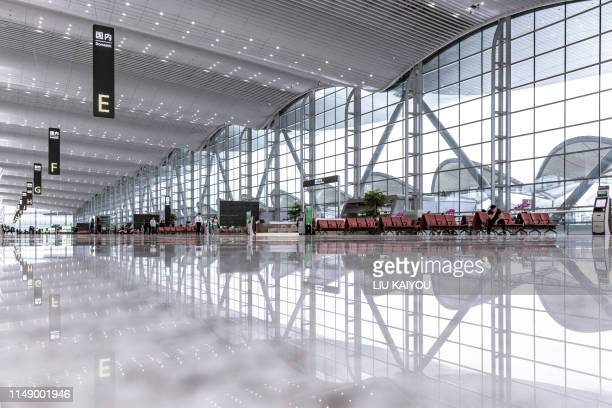 modern airport waiting zone - airport stock pictures, royalty-free photos & images
