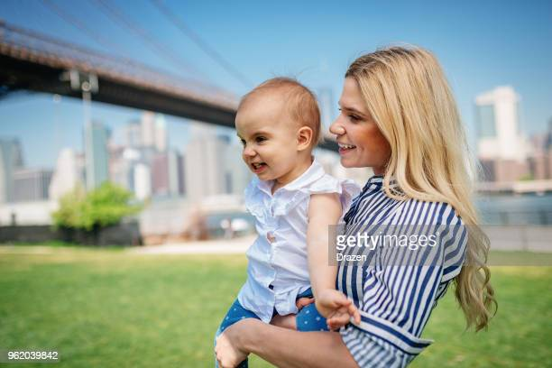 Modern American mom with baby girl