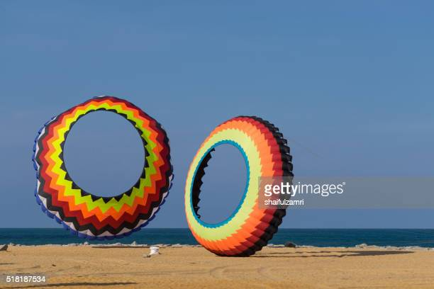 a modern and big kite festival during hot and windy season - shaifulzamri stock pictures, royalty-free photos & images