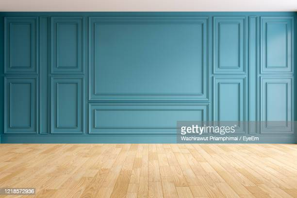 Modern And Classic Living Room Interior Design Empty Room Blue Wall And Wood Floors High Res Stock Photo Getty Images