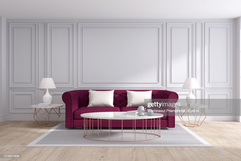 Modern And Classic Living Room Interior Design Red Sofa With White Room High Res Stock Photo Getty Images