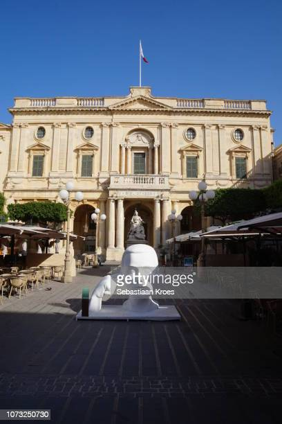Modern and Classical Statues at National Library of Malta, Valletta, Malta