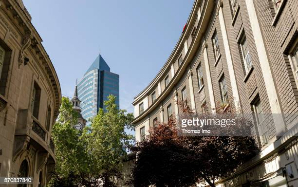 Modern and historic buildings in Santiago de Chile capital of Chile on October 15 2017 in Santiago de Chile Chile