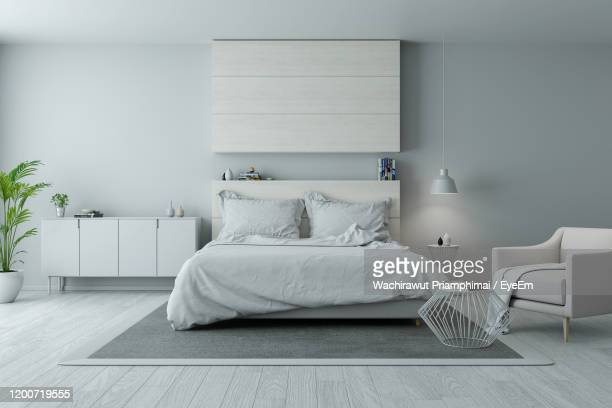 modern and minimalist bedroom design,cozy white and gray room concept - bedroom stock pictures, royalty-free photos & images