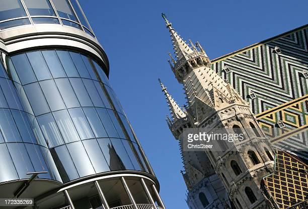 Moderna y la antigua arquitectura en Viena