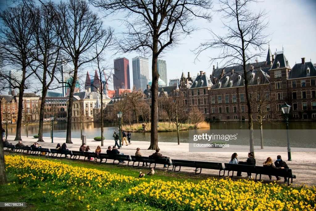 Modern and old buildings in The Hague, Netherlands : News Photo