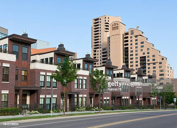 modern apartment buildings in the city - minneapolis stock photos and pictures