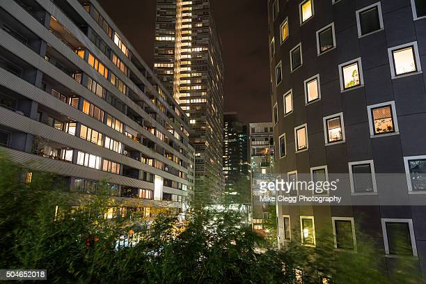 Modern Apartment Buildings in Vienna at night