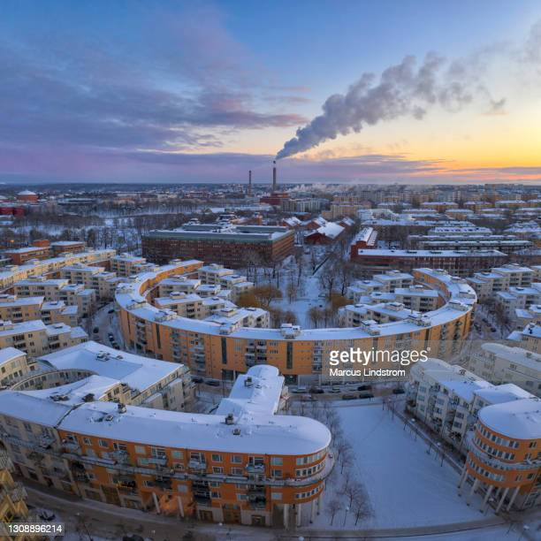 modern apartment buildings in winter in the östermalm district, stockholm - district heating plant stock pictures, royalty-free photos & images